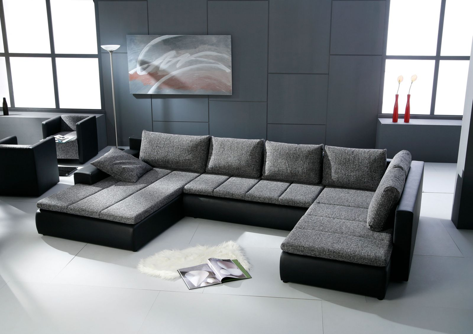 Sofas u form cheap edle design uform mega big sofa ucouch for Sofa u form federkern